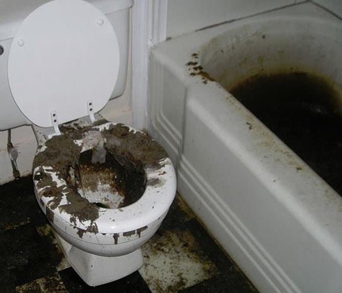 Bathroom after sewage backup