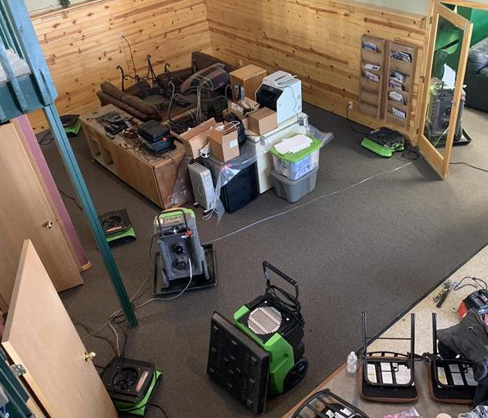 Aerial view of SERVPRO drying equipment in water loss location