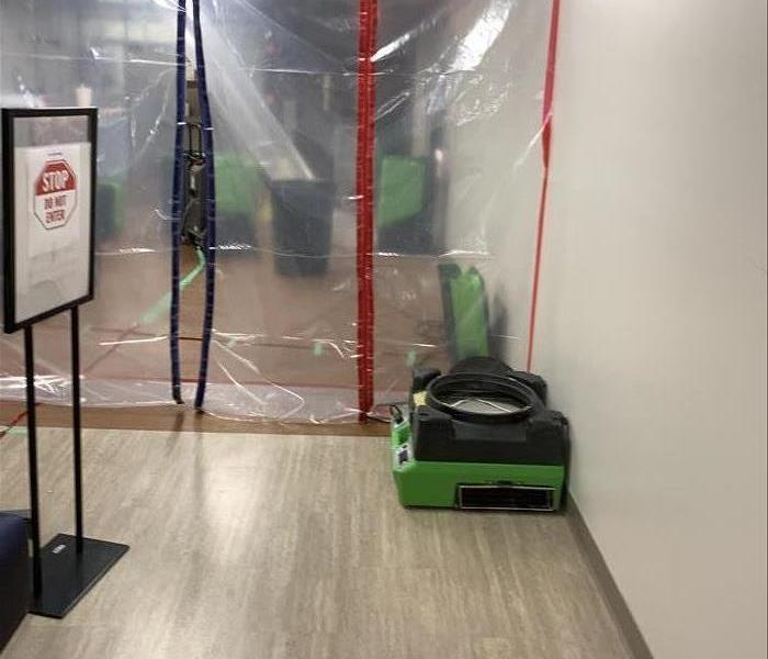 SERVPRO Job Site with contamination screen