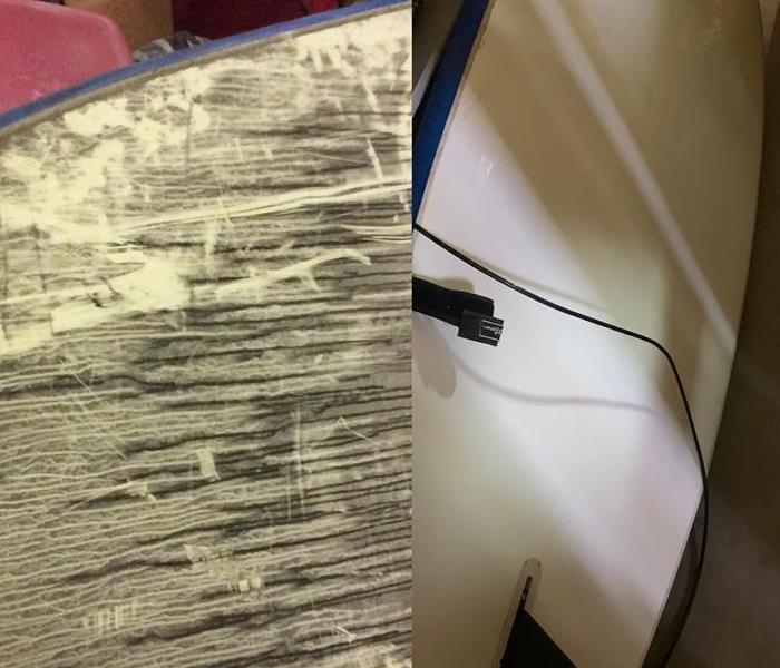 Surfboard damaged by fire before and after cleaning by SERVPRO