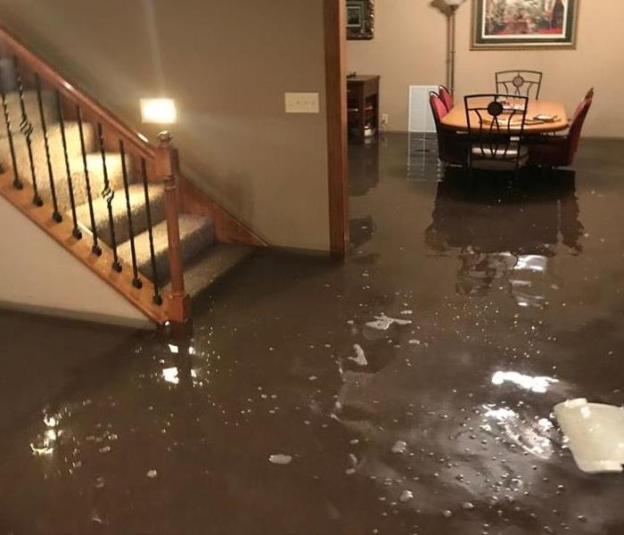 Standing water in flooded home